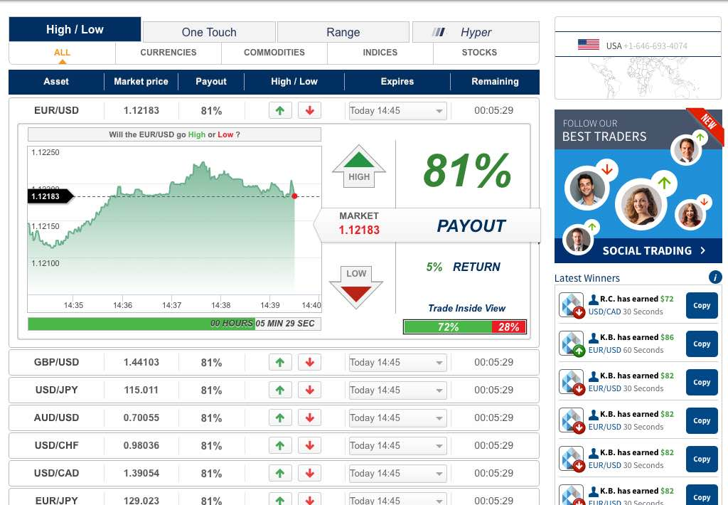 porter finance binary options account